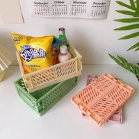 collapsible crate mini plastic folding storage box basket home storage bin supplies utility cosmetic container desktop holder