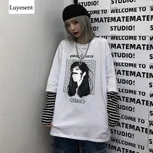Cool dessin animé imprimé unisexe T-shirts dame homme faux deux pièces rayé manches Patchwork basique T-shirt 2020 Harajuku Rock gothique haut