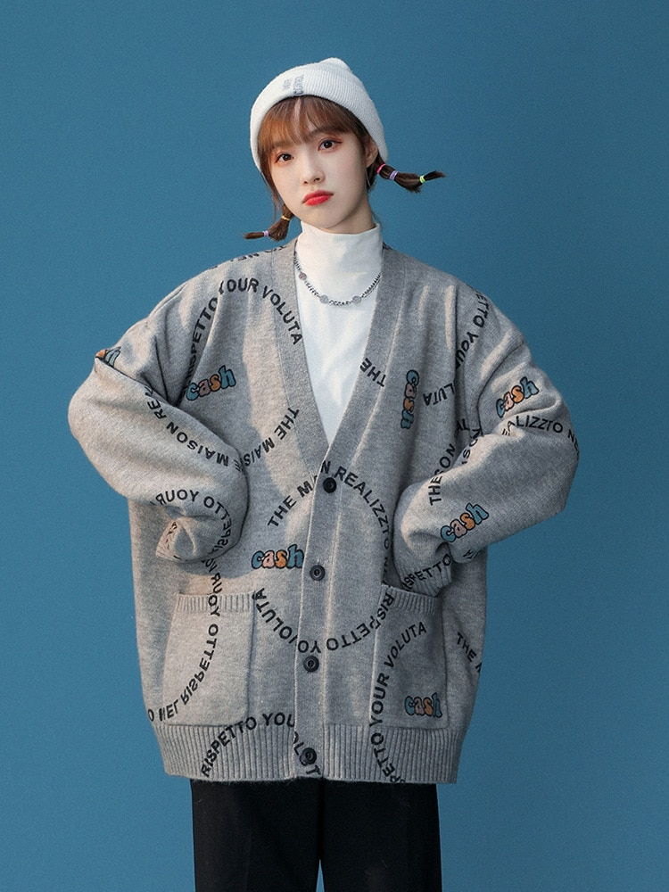 Womens Loose Fit Knitted Cardigan Sweater Long-Sleeve V Neck Casual Letter Printed Single-Breasted Cardigan Sweater Coat enlarge
