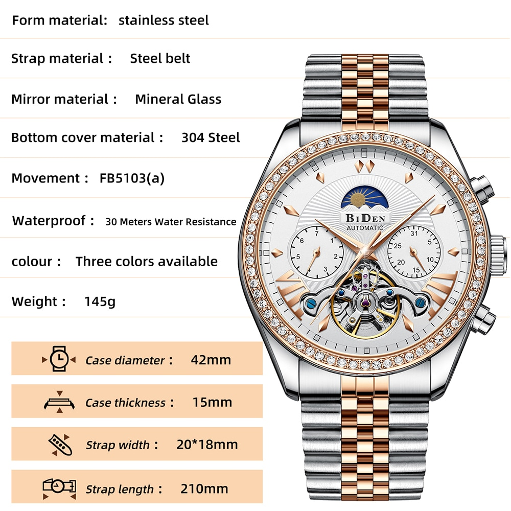 New Hollow Tourbillon Mens Watches Top Luxury Multifunction Waterproof Mechanical Watch Moon Phase Automatic Full Steel Clocks enlarge