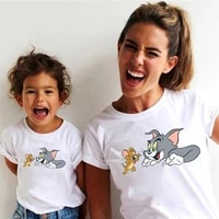 cartoon cat and mouse characters avatar printed aesthetic graphics summer t shirt minimalist style ulzzang cool soft fabric tees