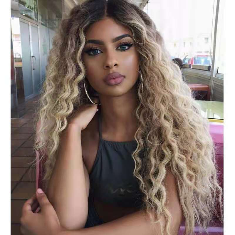 Brown Light Blonde Platinum Long Wavy Middle Part Hair Cosplay Natural Heat Resistant Synthetic Wig for Women