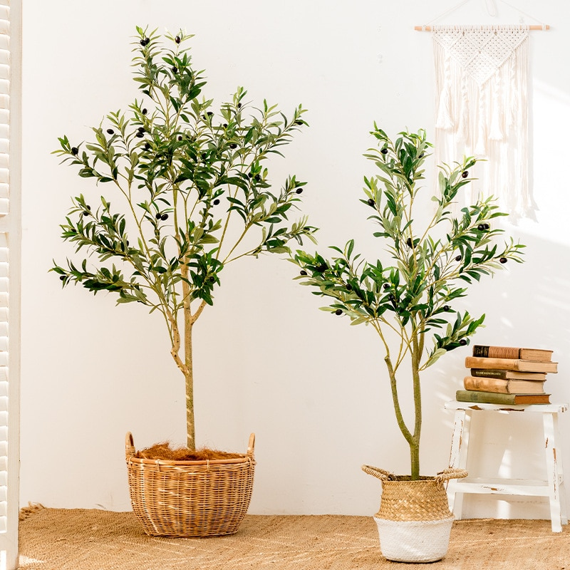 59 Inch Artificial Olive Tree Plants Potted Plants Fake Olive Branch Leaves Topiary Silk Tree Faux Plant Decor Fruit Tree