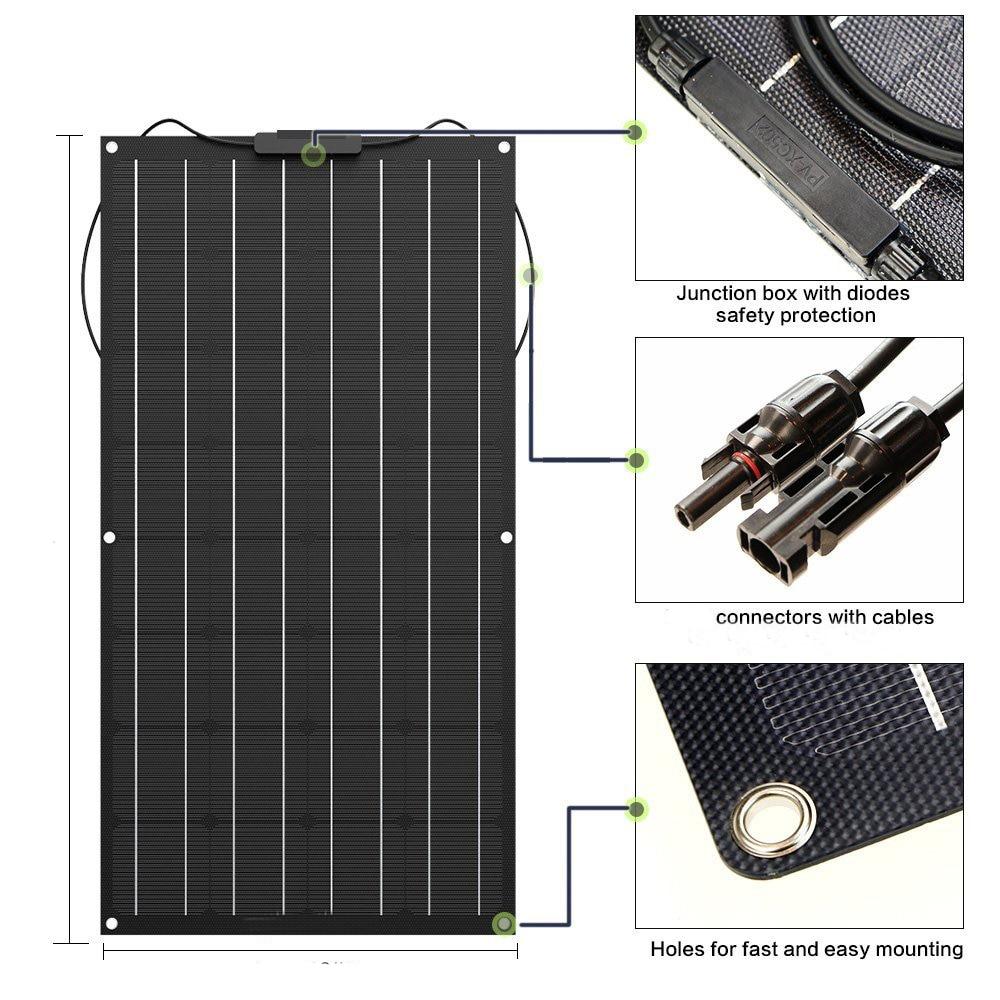 لوحة طاقة شمسية 300 واط 200 واط 100 واط 400 واط مرنة ETFE PET Photatic PV أحادية خلية 12 فولت 24 فولت شاحن بطارية 1000 واط نظام المنزل عدة
