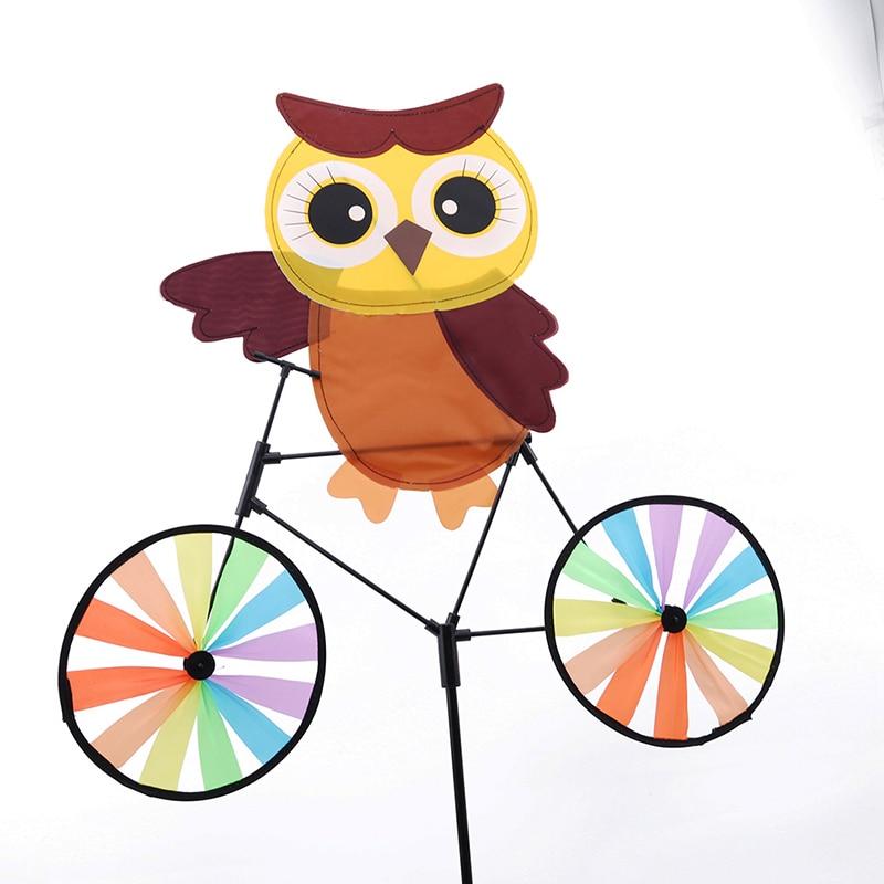 2019 Windmill Toys For Children 3D Animal Owl on Bike Windmill Pinwheel Whirligig Kids Toys Garden Lawn Party Outdoor Decor