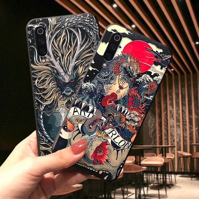 for Xiaomi Mi 10 9 CC9 A3 Lite 9T Redmi K20 K30 Note 8 7 Pro PCOC X2 Black Shark 2 3 Case Embossed 3D Relief Antiscratch Cover