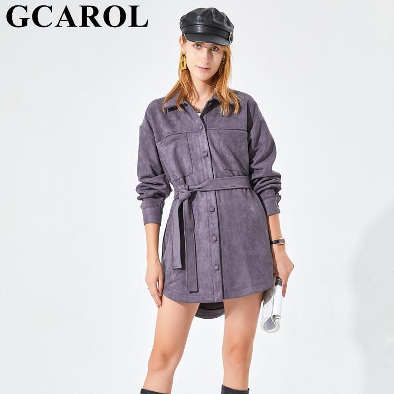 Gكارل المرأة غير المتماثلة المخملية خندق مع حزام واحدة الصدر قطرة الكتف 2 جيوب فضفاضة متوسطة طول الربيع الخريف الشتاء