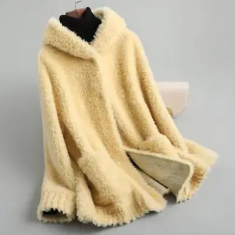 2021 New Winter Women Real Wool Fur Coat Female Natural Sheep Shearing Jacket Lady Single Breasted H