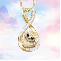 cute animal owl heart shaped crystal decoration hollow out pendant necklace womens gold color necklace fashion accessories