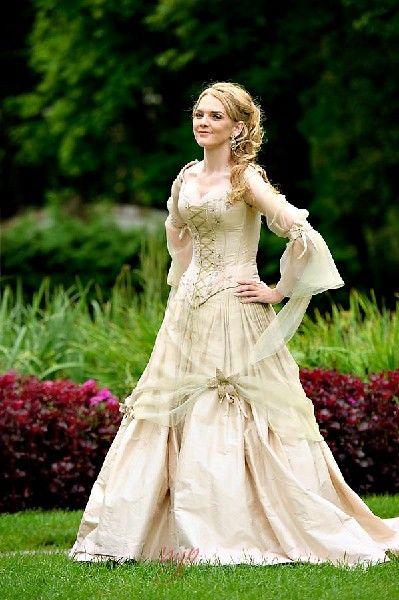 فستان زفاف قوطي من القرون الوسطى ، ريترو ، زي تيندور سلتيك ، مشد الهالوين ، أكمام جرس ، فستان زفاف ريفي زهري