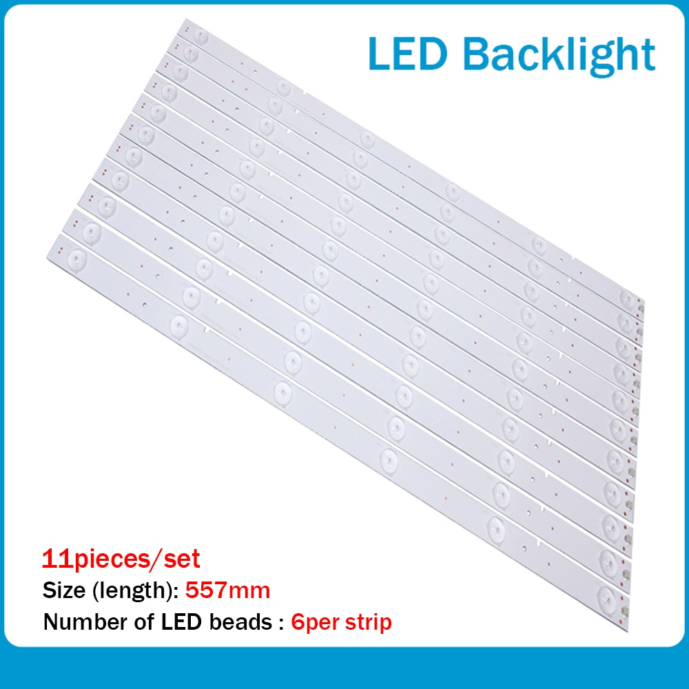 11 unid/lote para HISENSE 50 pulgadas 50K20JD tira de LED 6LED 56CM de retroiluminación LED SVH500A22_REV05_6LED_131113 100% nuevo