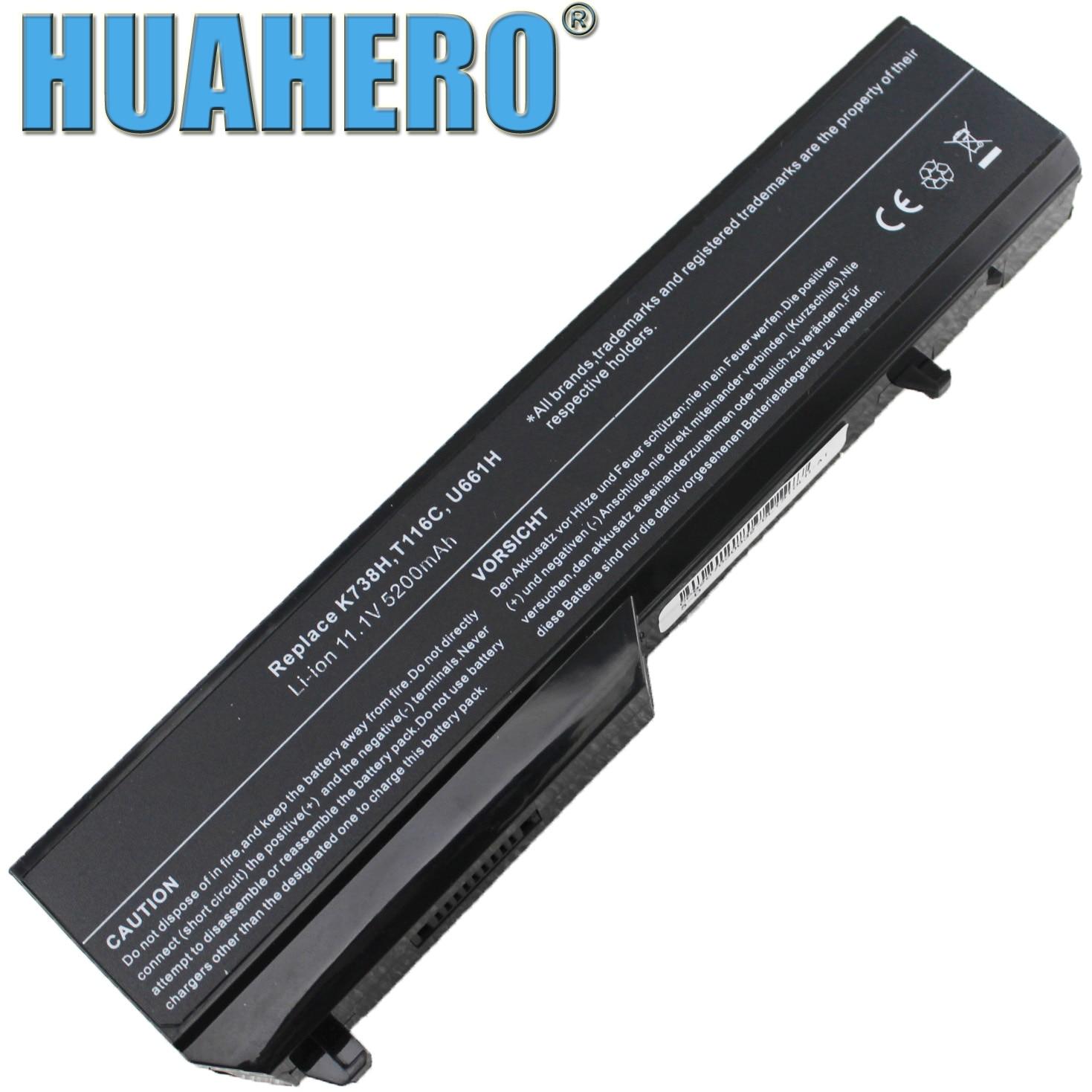 HUAHERO T116C Battery for Dell Vostro 1310 1320 1510 1520 2510 Laptop U661H T114C T112C N950C K738H312-0859 312-0724 0T116C PC