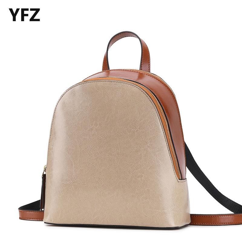 YFZ женский кожаный рюкзак высокого качества, Женский винтажный маленький рюкзак с 2 отделениями, женский многофункциональный дорожный рюкз...