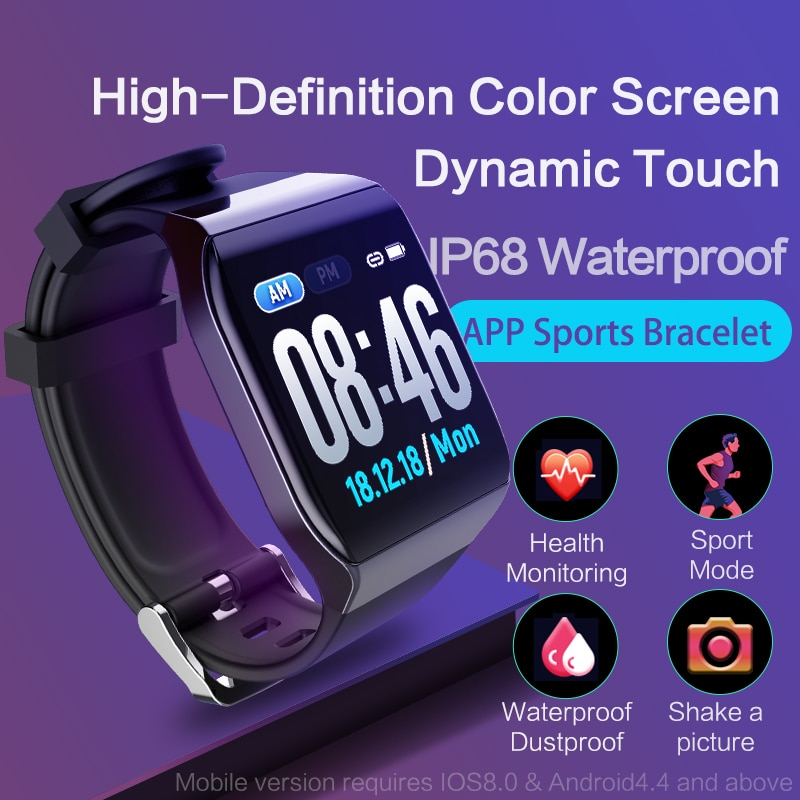 KSS901 сенсорный цветной экран умный браслет с монитором Heartrate ЭКГ кровяное давление часы IP68 фитнес-трекер Wrisatband