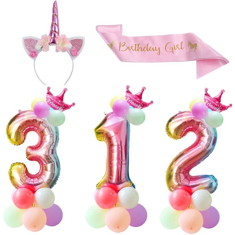 32 zoll Regenbogen Anzahl Ballon Folie Ballons Einhorn Geburtstag Party Mädchen Seide Schärpe Stirnband für Geburtstag Party Dekoration Kinder