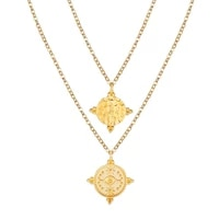 chenfan necklaces 2020 new golden double layered clavicle chain creative retro eye seal pendant necklace trinket wholesale gift