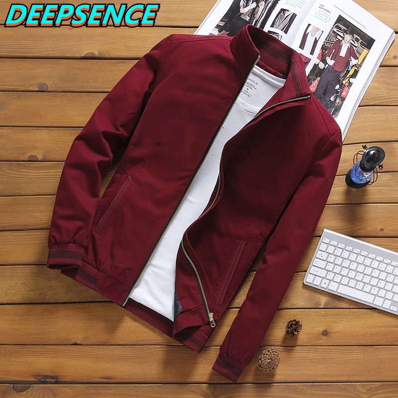 Spring Autumn Casual Jacket Men Outdoor Solid Thin Fashion Coat Stand Neck Zipper  All Match Cotton