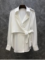 high quality womens shirt 2021 autumn female turn down collar bow belt deco long sleeve elegant black white work shirts blusas