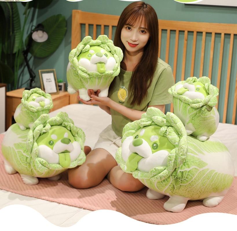 Симпатичная японская овощная собака 20-50 см, плюшевые игрушки, креативная китайская капуста, подушка Шиба-ину, Мягкое Животное, диванная поду...