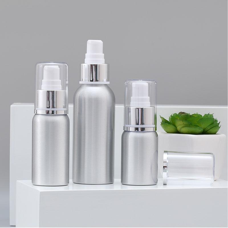 50ml Aluminium metal pump bottle for facial lotion emulsion serum foundation anti-UV skin care cosmetic packing