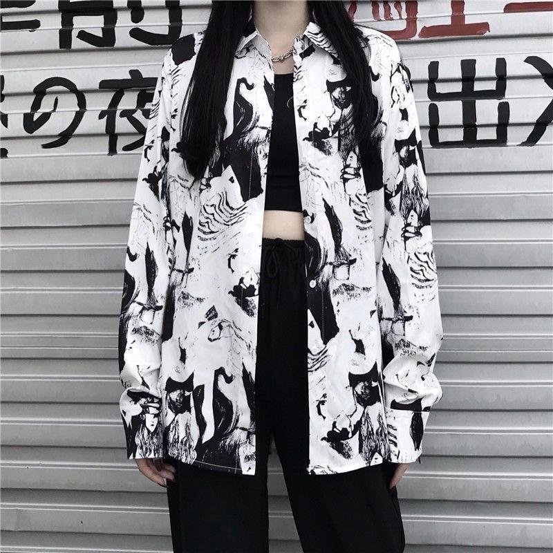 MINGLIUSILI Vintage Shirt Women Harajuku Print Spring Fashion 2021 Button Up Shirt Long Sleeve Plus Size Loose Women Clothing