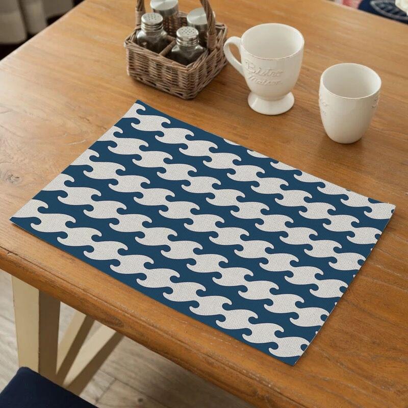 VOGVIGO patrón geométrico mantel vajilla duradera mesa de comedor alfombra té fiesta accesorios de cocina tazón almohadillas posavasos bebida