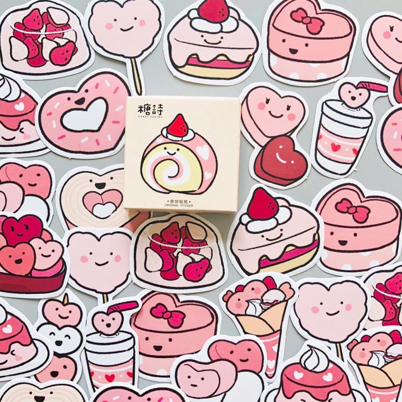 46 шт./кор. вкусные розовое сердце Sweet Торт Декоративные Дневник стикеры для альбомов