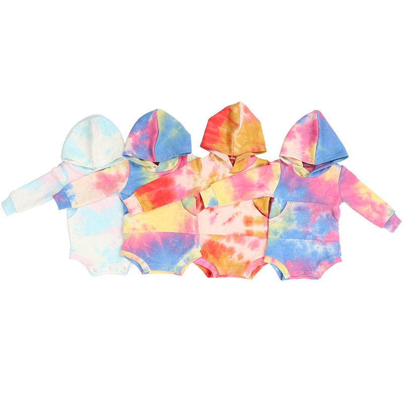 New Arrivals Baby Bodysuit Tie-Dye Cotton Full Sleeve Hooded Jumpsuit Spring Autumn Wholesale