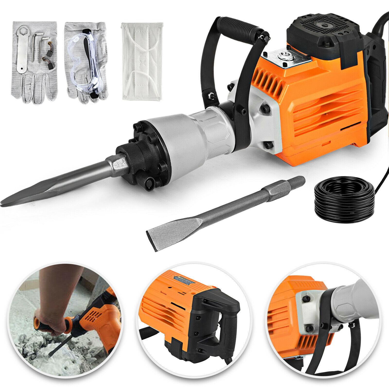 VEVOR 3600W Electric Demolition Hammer Heavy Duty Concrete Breaker 1800 RPM Chipping Jack Hammer Drills with Chisels Jackhammer