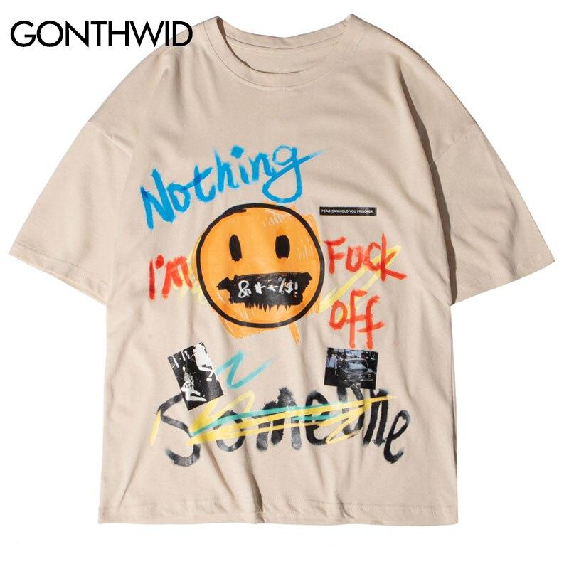 GONTHWID граффити буквы улыбка лицо печати уличная футболки хип хоп Harajuku повседневные футболки мужские модные топы с коротким рукавом