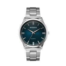 MIGEER Blue Watch Men Crystal Stainless Steel Analog Quartz Watch Wrist Male Clock relogio masculino reloj hombre HOT Sale