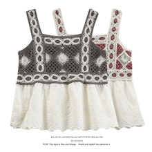 Spaghetti Straps Outerwear Beauty Back Vest Internet Hot Summer Crochet Embroidery Sleeveless T-shir