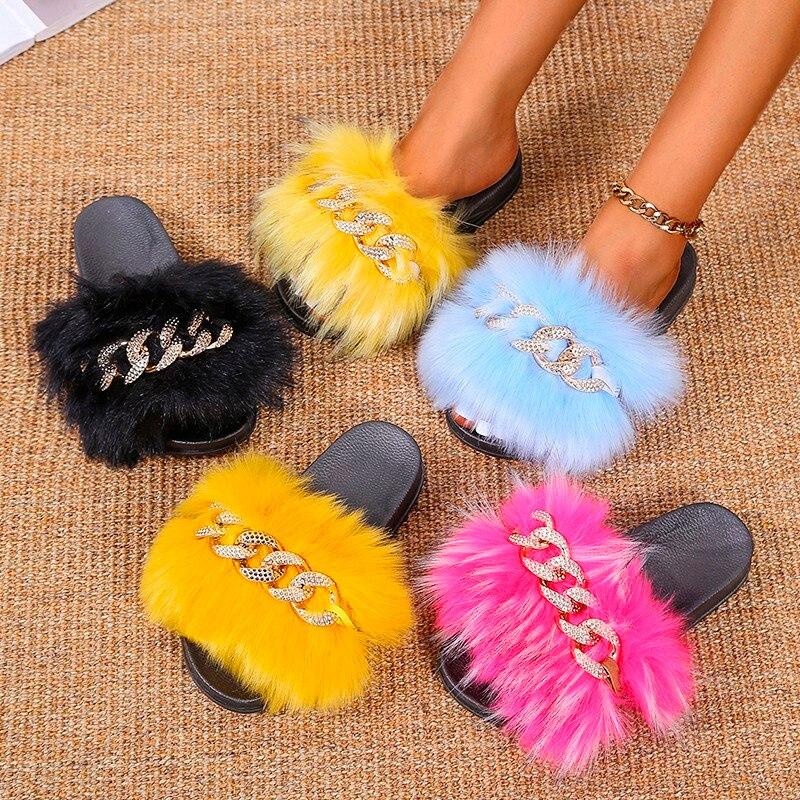 Fur Women Slippers Furry Fluffy Flip Flops Women Sandals Gold Chain Fur Slides Ladies Slippers Plus