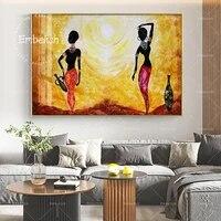 1 pieces coucher de soleil femme africaine moderne decor a la maison photos pour salon HD impression toile peintures mur Art affiche de mode Art