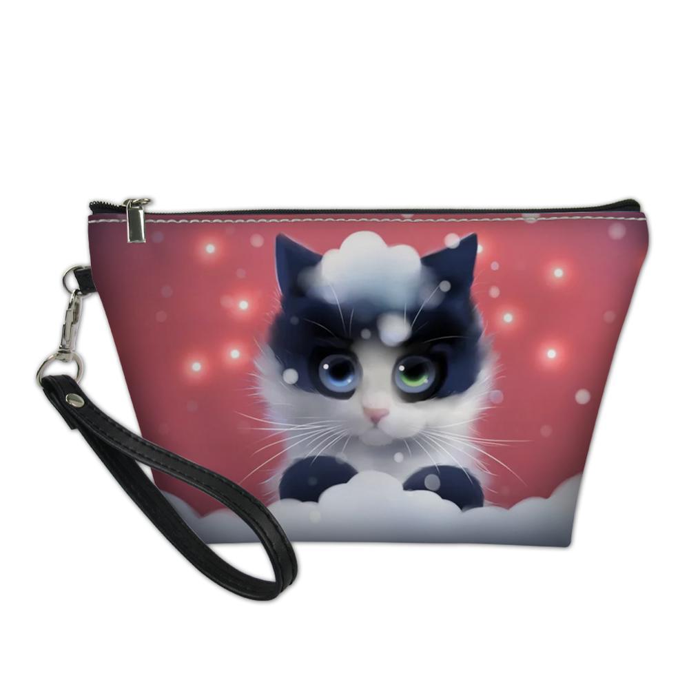 HaoYun женская косметичка из искусственной кожи, сумки с фантазийным рисунком кошек, дорожные косметички для девочек, несессер, Мультяшные наб...