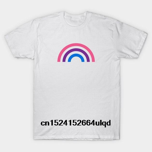 Camiseta con estampado personalizado y cuello redondo de algodón 100% para hombre, camiseta bipride Rainbow - Bisexual para mujer