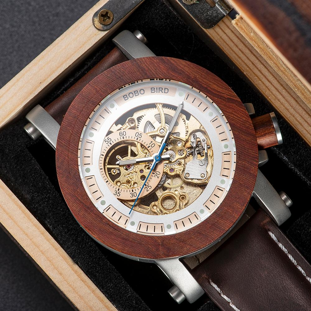 Bobo pássaro madeira relógio de pulso mecânico masculino relógio automático reloj hombre homme rouge pulseira de couro chirstmas presente