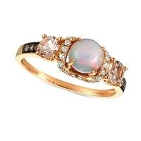 fashion female ring simple geometric inlaid white pink rhinestone pearl opal rings for women girl hand jewelry