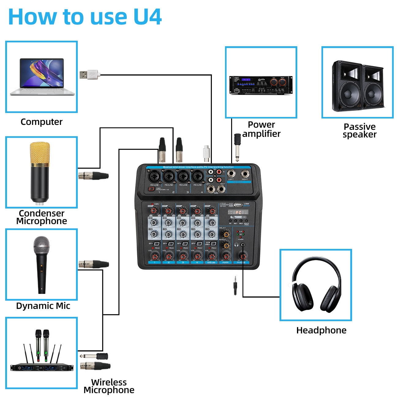 LEEDOAR 6-channel Professional Portable A6 Mixer Sound Card Mixing Console Computer Live Input 48v Power Model Number PK TEYUN enlarge