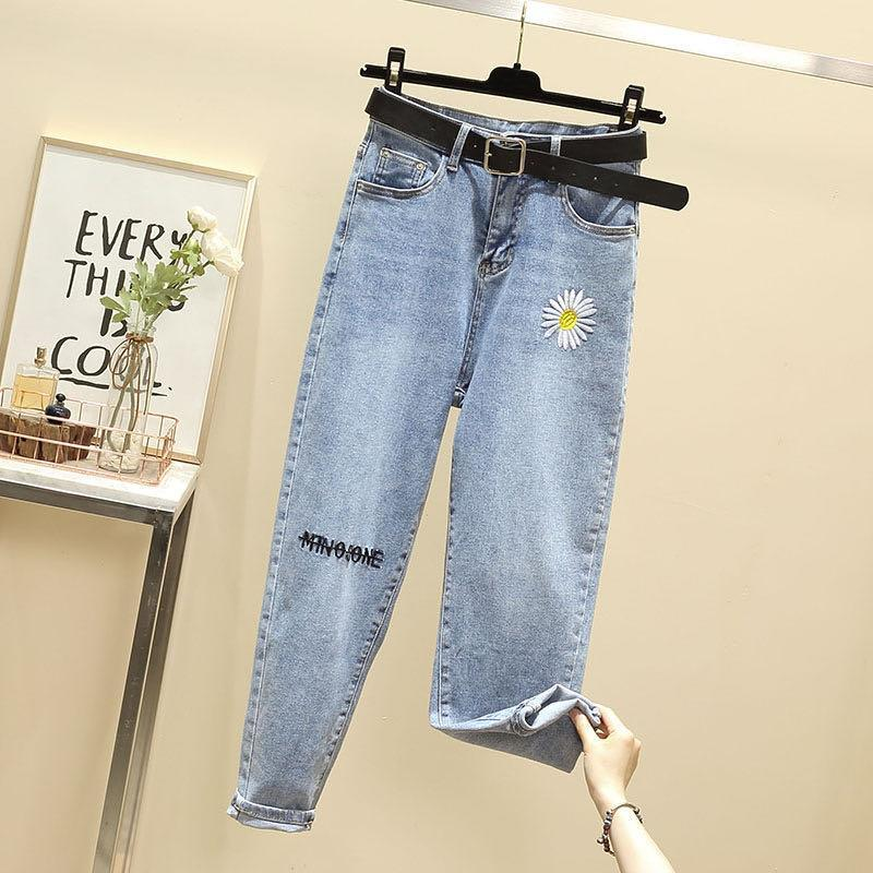 Small Daisy Embroidered Jeans Spring and Autumn new high waist jeans Women's loose straight large si