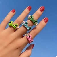 2021 vintage frog rings bohemia handmade colorful beads ring for women men friendship ring jewelry gift