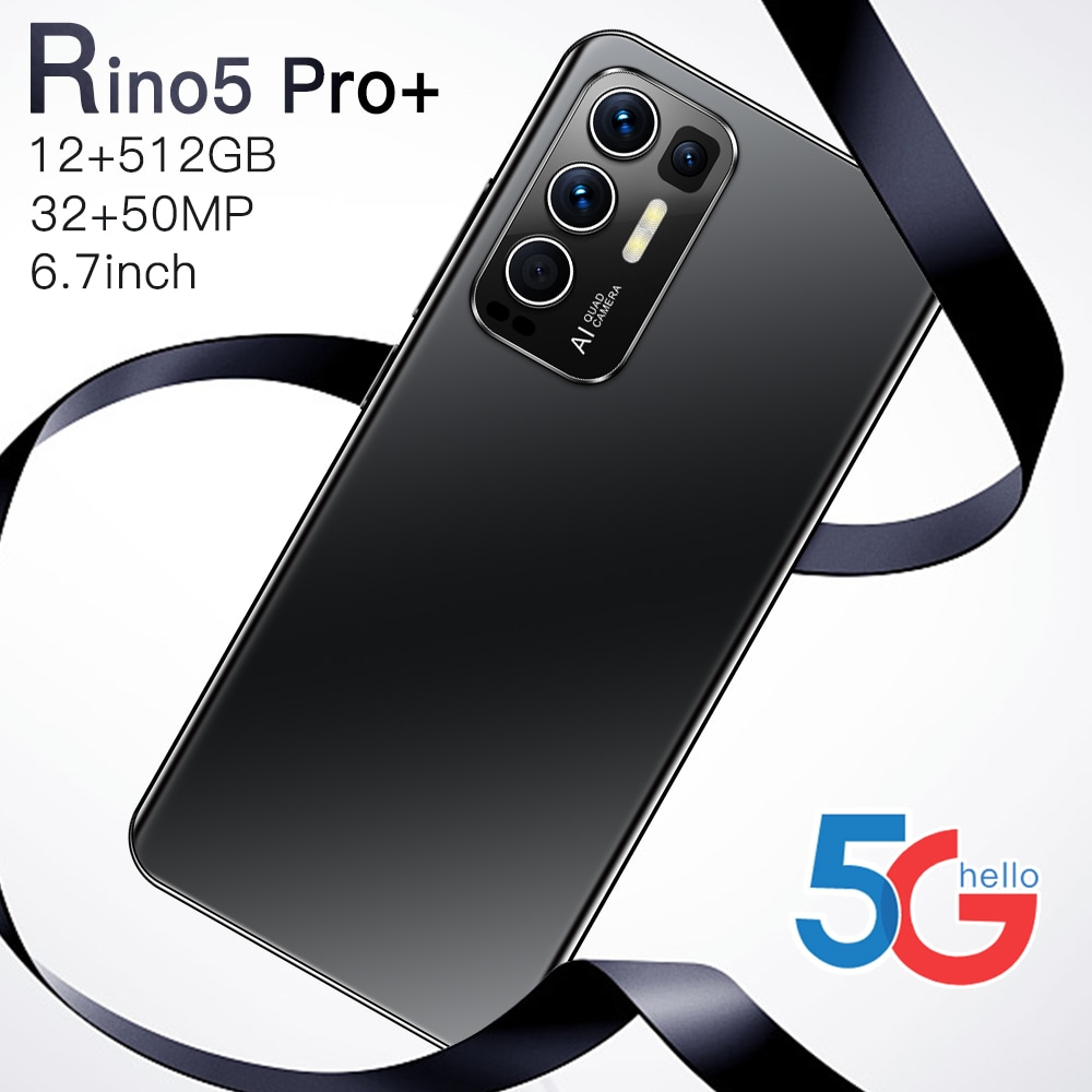 Rino5 برو + الهاتف الذكي أندرويد 6.7in شاشة كبيرة الهاتف 12 + 512GB 10Core 16 + 32 ميجابكسل هواتف محمولة غير مقفلة الإصدار العالمي