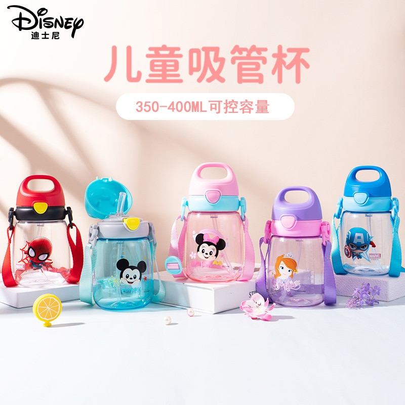 Disney Mickey Mouse Minnie Marvel Children Plastic Straw Cup Transparent Leakproof Cup Tritan Material Spiderman Water Cup