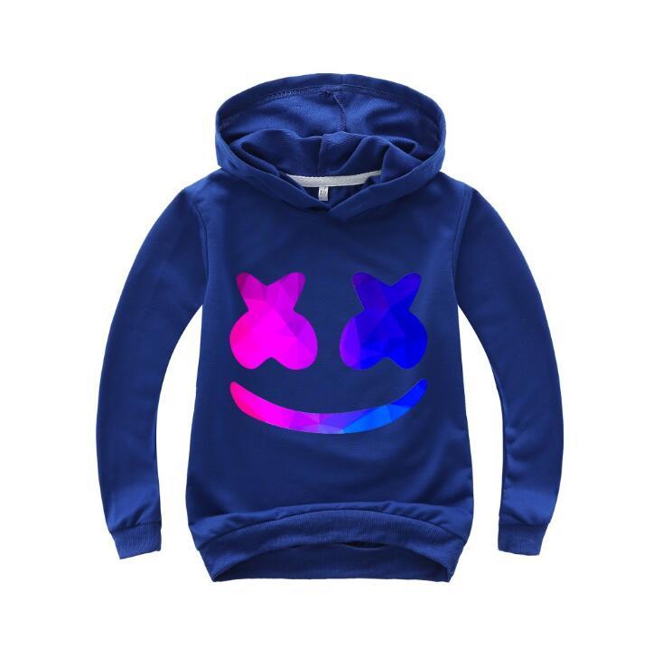 Sudadera de algodón para niños con sonrisa de nuevo estilo color caramelo DJ moda Abrigo con capucha