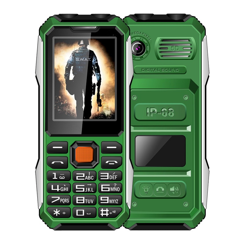 LR A6 Push Button Mobile Phone With Vibration 2.8 Inch 2 SIM Card Bluetooth LED Flashlight GPRS 6800mAh Shock Dust Prevent