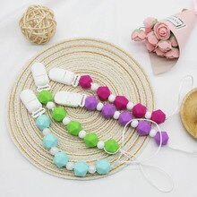 Cute-Idea Silicone Beads Teether Pacifier Bracelet Accessories Chain Toddle BPA Free Chewable Teethi