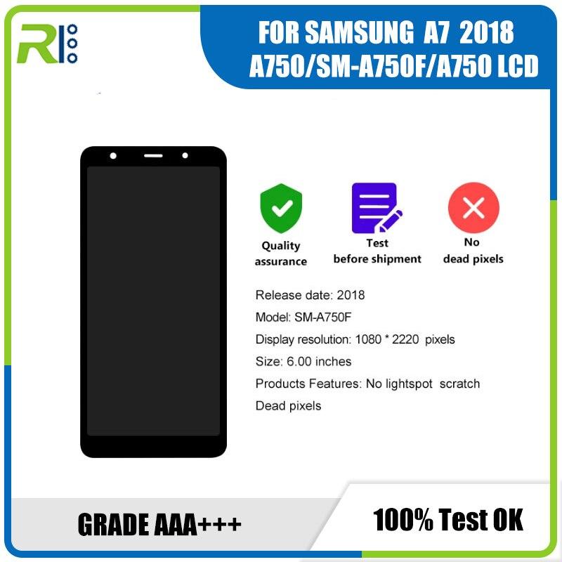 سوبر أموليد الأصلي سامسونج غالاكسي A7 2018 SM A750 A750G A750FN DS شاشة LCD تعمل باللمس محول الأرقام الجمعية مع الإطار