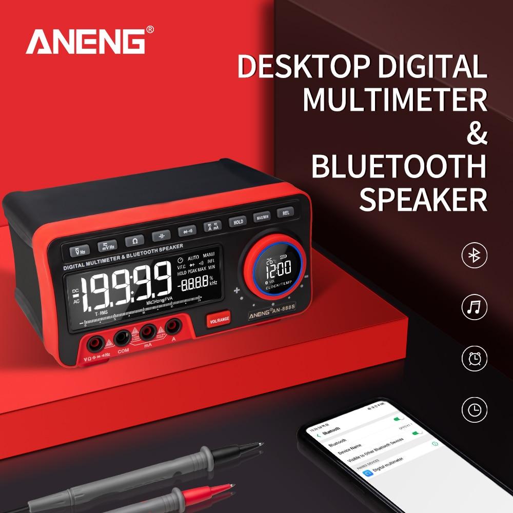 AN888S المهنية الرقمية مقعد متعدد 19999 التهم تستر الفولتميتر متعددة الوظائف بلوتوث الصوت Alack ساعة الموسيقى