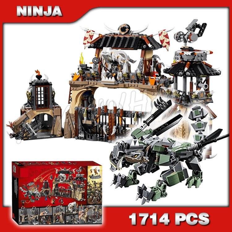 1714 Uds., el dragón, el dragón, caza de la prisión, samurái dorado, modelo 10940, bloques de construcción, juguetes, compatibles con ladrillos Lego