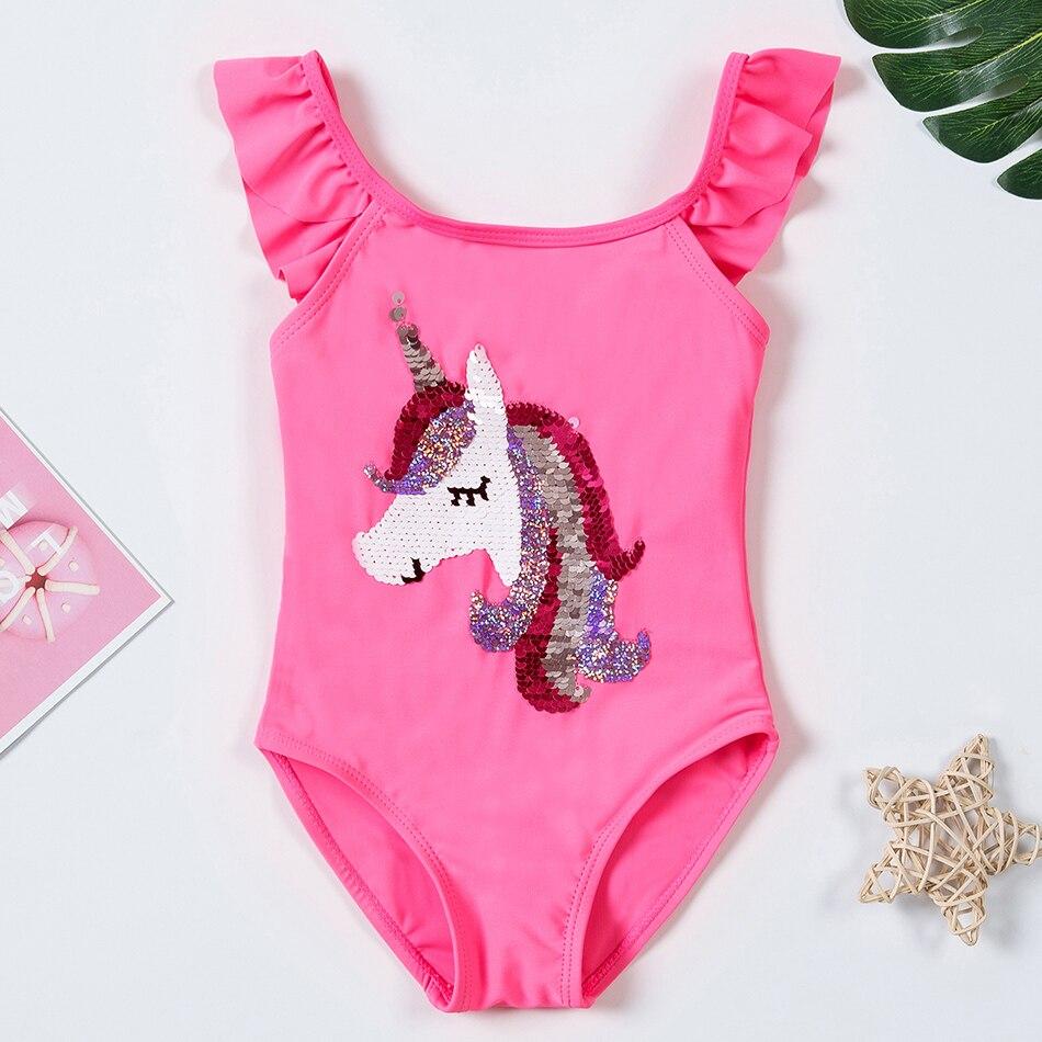 2020 Unicorn Girls Swimsuit Flip Sequin One Piece 1-8 Years Children's Swimsuit Magic Reversible Sequin Swimsuit Unicorn 1081